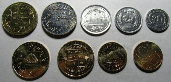 Nepal Rupias Set De 9 Monedas 1994 - 2009 Unc Sin Circular