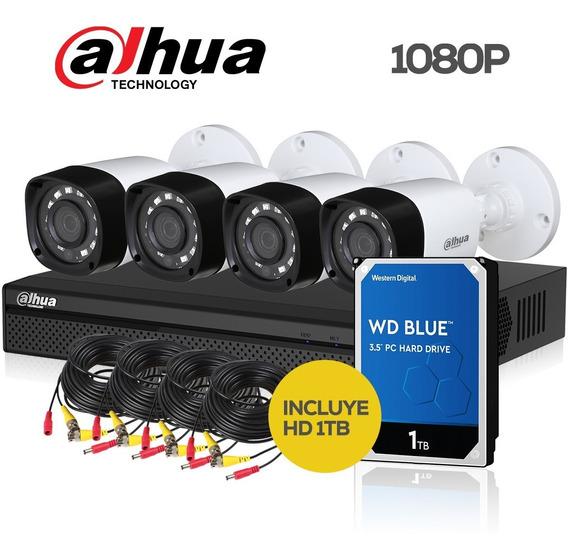 Kit Seguridad Dahua Full Hd Dvr 8 + 4 Camaras 1080p + Hd 1tb
