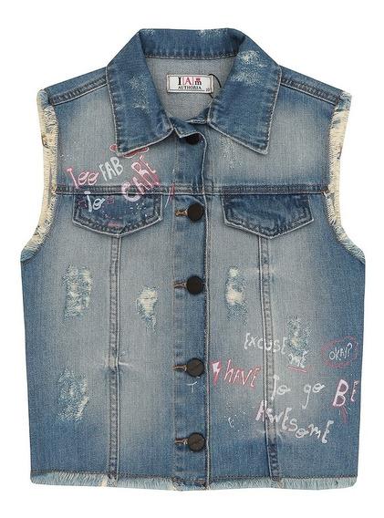 Colete Jeans Detonado Com Estampa