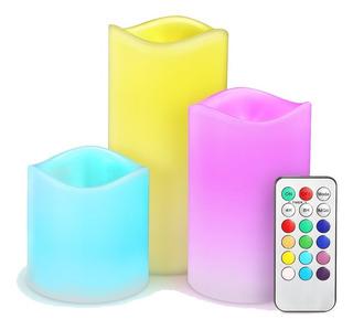 Velas Led Noche Multicolor Cera Real Kit Colores Decoracion