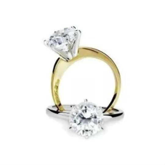Anel De Noivado Ouro 18k/750 Solitário Diamante De 50