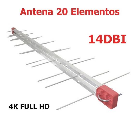 Antena Tv Externa Digital Hdtv 4k 20 Elementos