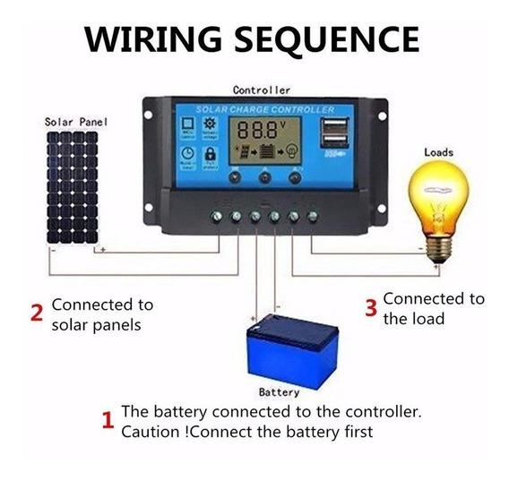Controlador De Carga Solar Painel Placa Usb Pwm 30a 12v/24v