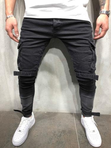 Skinny Fit Pantalones Jeans De Moda Para Hombre Negro Mercado Libre