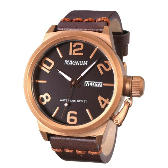 Relógio Magnum Masculino Ma33399m Marrom Couro