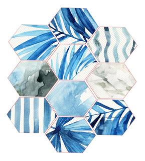 10 X Calcomanía Auto-adhesivo Hexagonal Pared Azulejo