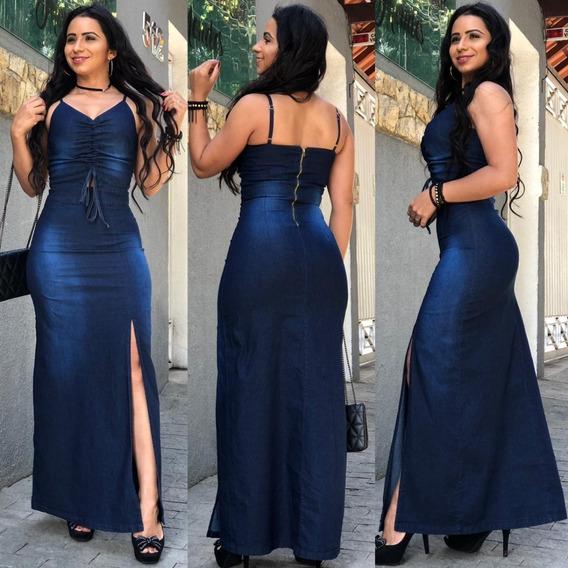 Vestidos Femininos Evangélicos Longos Jeans Com Fenda