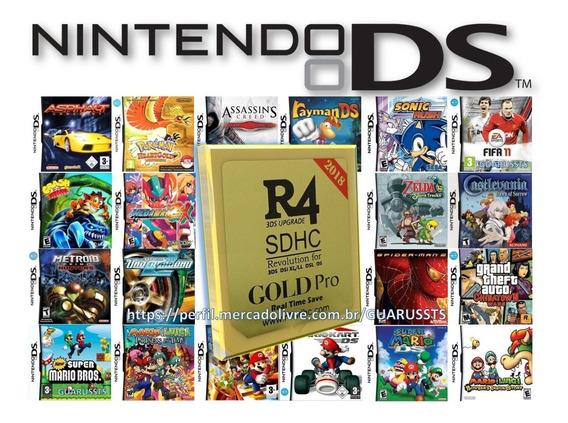 Card R4 Pro Gold C/ 600 Jogos Ds Nes Snes Compatível 3ds/2ds