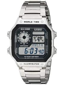 Casio Reloj Digital Hora Mundial Plata Extensible Acero