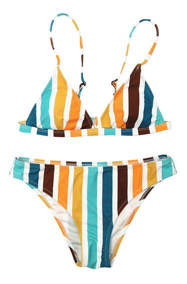 Mulheres Rainbow Striped Estampado Swimwear Biquíni Swimwea
