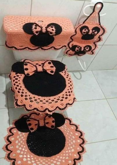 Jogos De Tapetes Crochê P/ Banheiro E Cozinha Minnie - 1400