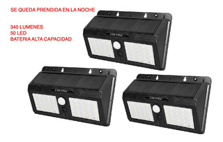 Lampara Solar 3 Pack Queda Encendida De Noche 340 Lm 50 Led
