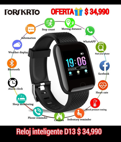 Imagen 1 de 2 de Oferta! Reloj Inteligente D13 X Solo $34,990