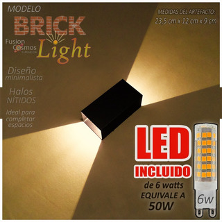 Aplique Pared Interior Bidireccional Con Lampara Led 6 Watt Moderno Difusor Luz Indirecta Bipin Ladrillo Efecto Luz Fx