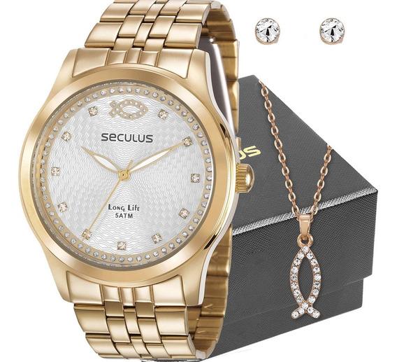 Kit Relógio Seculus Feminino Cristão 28968lpskda1k1