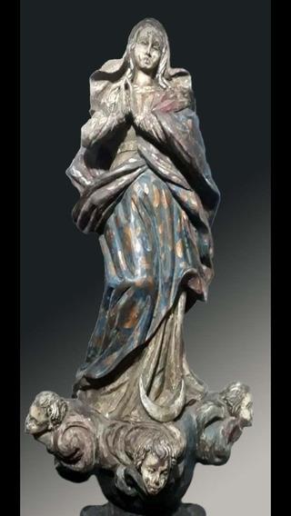 Imaculada Conceição , Arte Sacra Antiga , Madeira , 75 Cm !