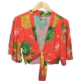 Blusa Top Cropped Decote Estampa Floral Vermelho