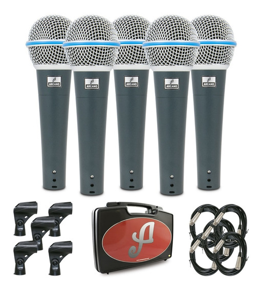 Kit Com 5 Microfones Arcano Dinâmico Rhodon-8 Kit Xlr-xlr