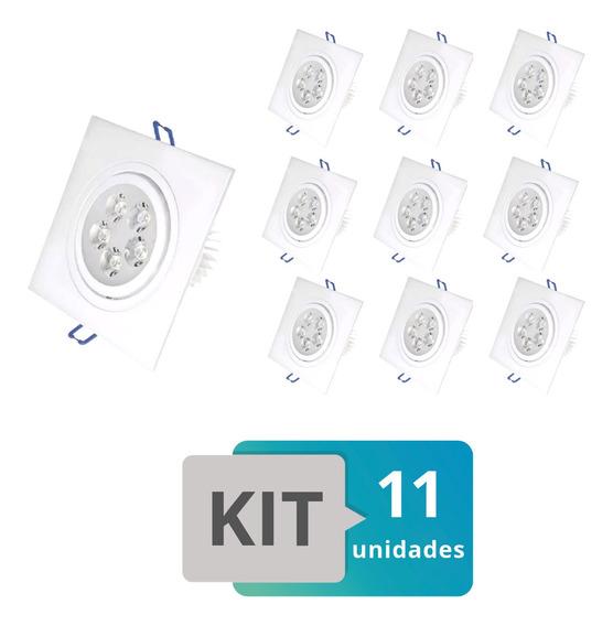 Kit 11 Spot Led Embutir Quadradro 5w Branco Frio