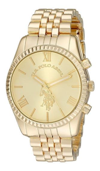 Reloj Dorado Mujer Us Polo Assn 40058 100% Original