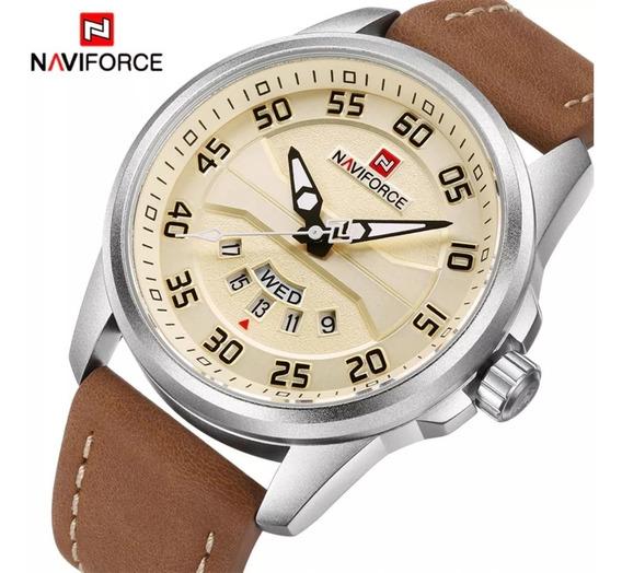 Relógio Naviforce 9124 Militar Couro Luxo Original Promoção