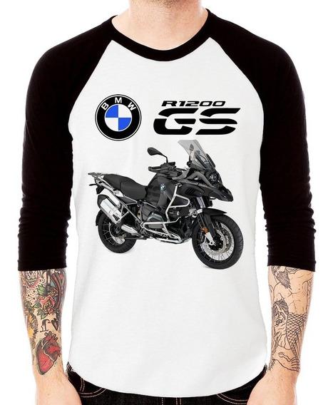 Camiseta Raglan Moto Bmw R 1200 Gs Triplo Black 3/4