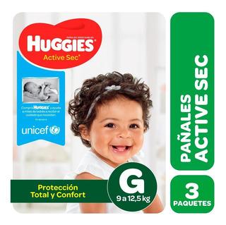 Pañales Huggies Active Sec Pack X 3 - Talles M G Xg Xxg