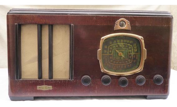 Radio Antigo De Madeira Valvulado Space King Valvula