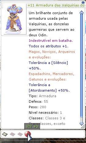 Ragnarok - +11 Armadura Das Valquirias Com Tg Vit+3 -thor
