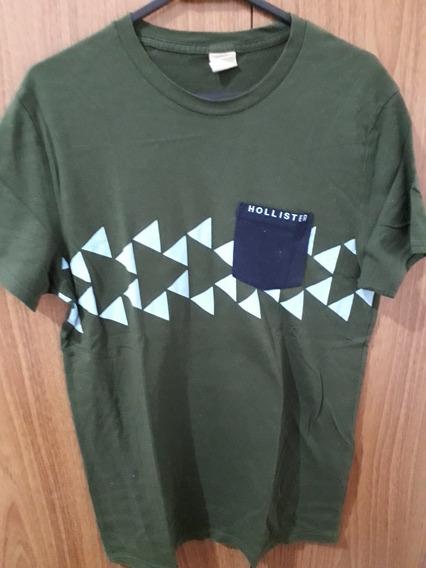 Camiseta Hollister Original Maculina Tamanho P Verde Bolso