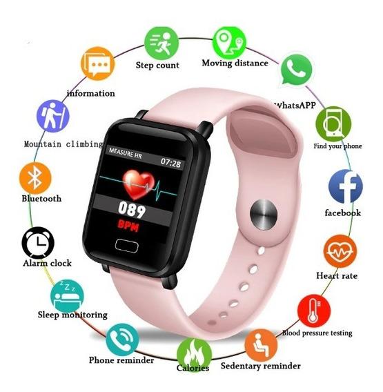 Relogio Feminino Inteligente, Rastreador, Pedômetro, Monitor Cardíaco E Á Prova Água Compativel Ios - Androide.