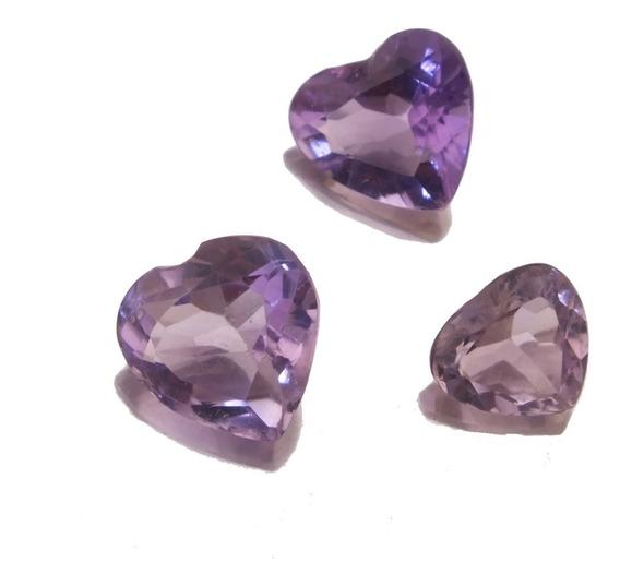 Trio De Corações De Ametista Pedra Preciosa Natural J21541