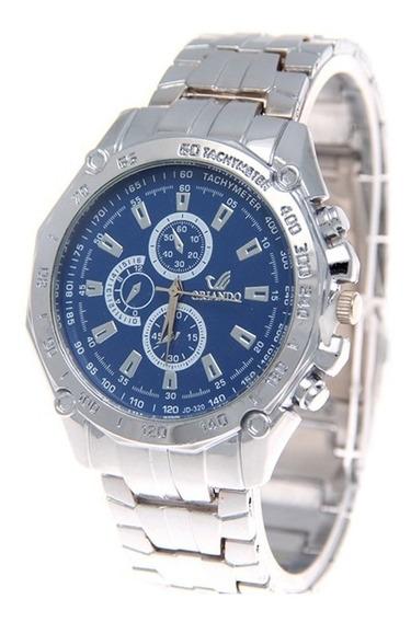 Relógio Masculino Orlando Social Azul De Aço Promoção Bem Barato Envio Imediato