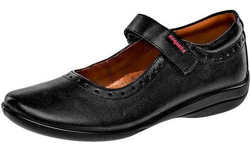 Zapato Piso Mujer Coqueta Negro Piel Correa C93745 Udt