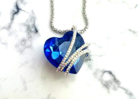 Fino Detalle Amor Collar Corazon Blue Swarovski