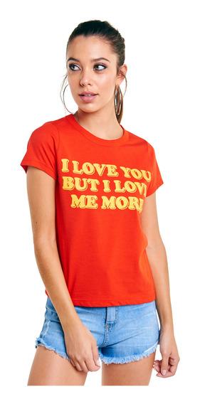 Remera Love Me More Básica Manga Corta Mujer 47street