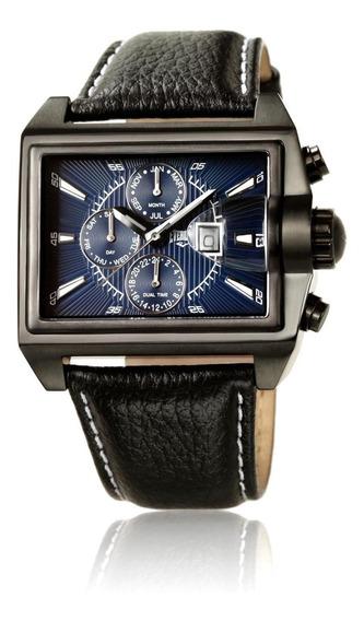 Relógio Pulso Everlast Masculino Aço Couro Cronografo E376