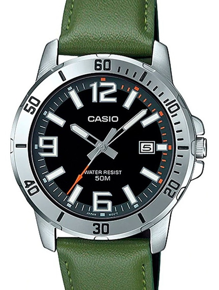 Relógio Casio Masculino Couro Verde Mtp-vd01l-3bvudf
