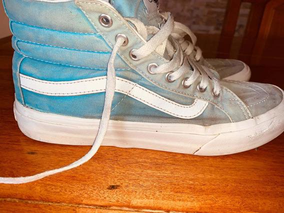 Zapatillas Botitas Vans Celestes N37.5 Mujer Usadas