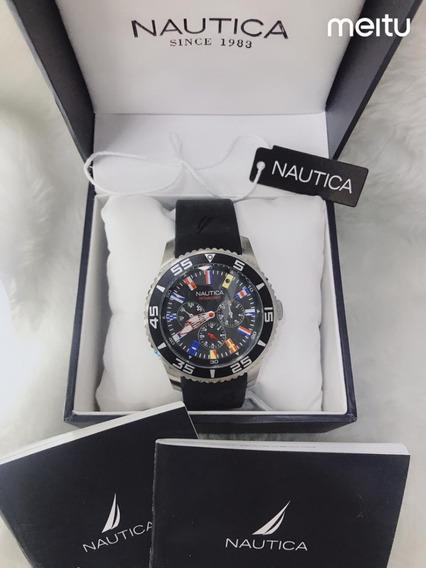 Relógio Gs86 Nautica N16696g Preto - Preto Promoção!
