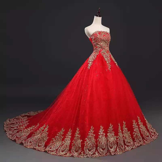 Vestidos Rojo Xv Años Quinceaños 15 Años Promoción Buen Fin