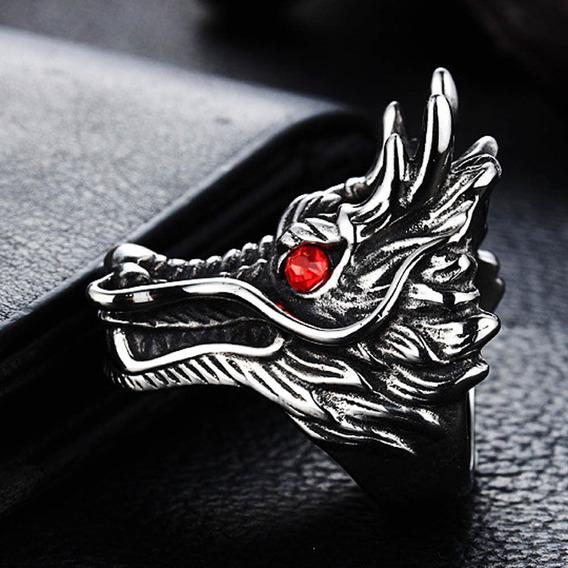 2x1 Anillo Hombre Dragón Ojos Rojos Amuleto Aluminio