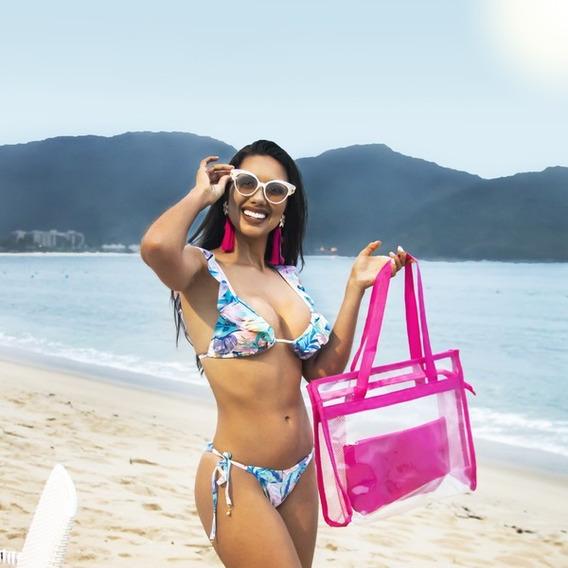 Bolsas Femininas Transparantes De Praia Kit Com 5 Peças