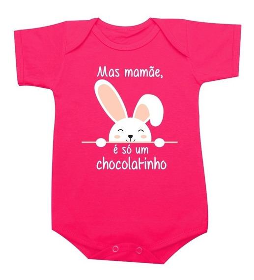 Body De Páscoa Mas Mamãe, É Só Um Chocolatinho! Blusa Bebê
