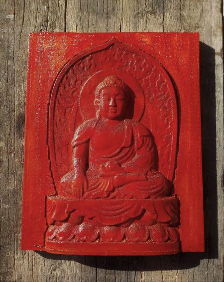 Quadro De Madeira Decorativo Buda Entalhado