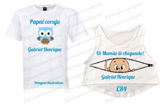Kit 03 Camisetas Bebê Espiando Chá De Bebê Pai Mãe Irmãos
