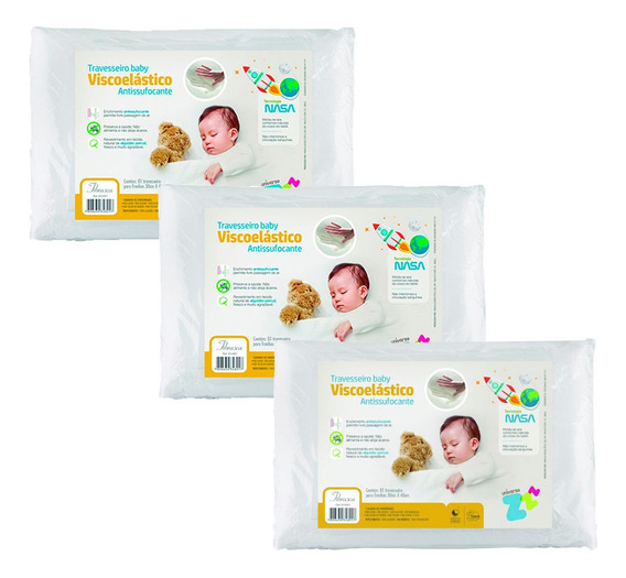 Kit 3 Travesseiros Nasa Baby Antissufocante Fibrasca