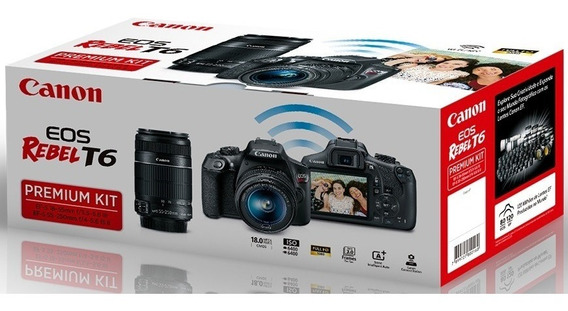 Câmera Eos T6 Kit Premium 18-55mm+55-250mm Canon+32gb+bolsa