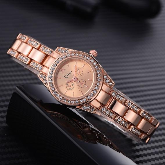 Relógio Feminino De Luxo Cristais Disu