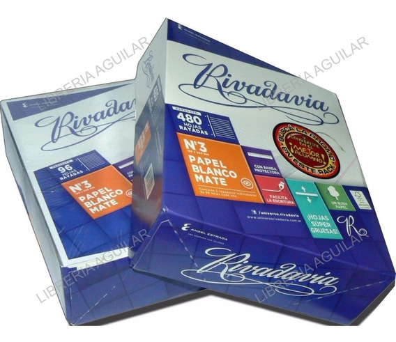 Repuesto Hojas Rivadavia 480 Hojas Caja Rayada Cuadriculada